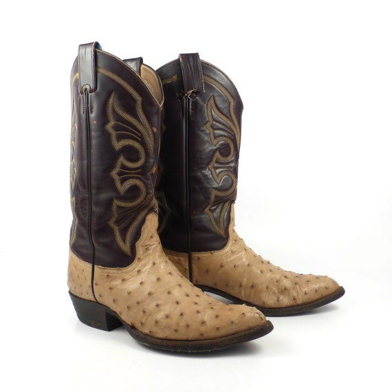 ostrich cowboy boots brown leather vintage by