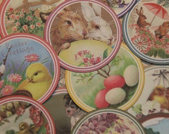 12 Easter Spring Stickers - Envelope Seals - Variety