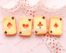 Alice in Wonderland Cookie Poker Cards Cabochons Kawaii Cabochon Decoden Pieces Miniature Sweets Deco (8pcs)