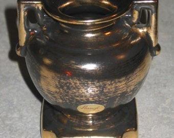 Stangl Pottery Trenton NJ black gold 22k small Urn Vase on pedestal with original sticker