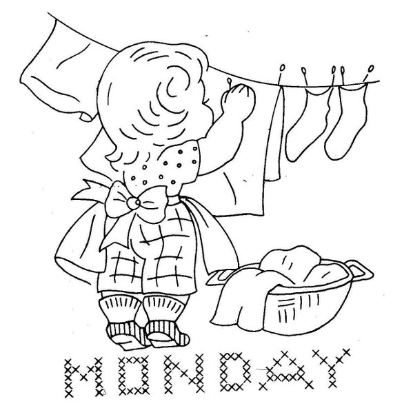 1950s vintage hand embroidery pattern 7187 busy children for days of the week towels pdf instant