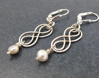 Earrings, Celtic, Infinity Knot, Pearl, Fresh Water Pearl, hand made, Dangle, birthday, Anniversary, Mothers Day, Gift