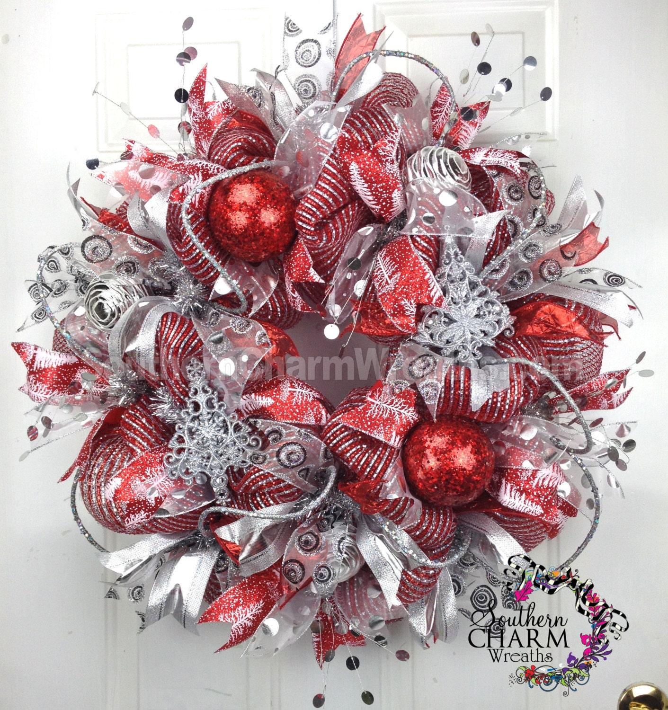 Deco Mesh Christmas Tree Wreath: XL DELUXE Deco Mesh CHRISTMAS Wreath For Door Or Wall Red