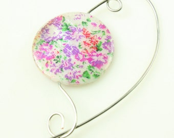 Mother of Pearl Shawl Pin, Scarf Pin, Brooch - Fushia Purple and Green on Mother of Pearl