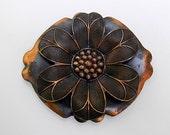 Vintage Midcentury Copper Sunflower Brooch, Pin, Burnished Copper, Flower