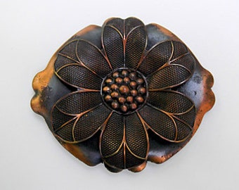 Vintage Midcentury Copper Sunflower Brooch, Pin, Burnished Copper, Flower