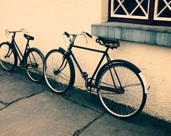 Street Bikes at Bunratty #2, Ireland Photography, Bicycle Art, Modern Minimalist, Digital Print, Silver Foil Print, Black and White Wall Art