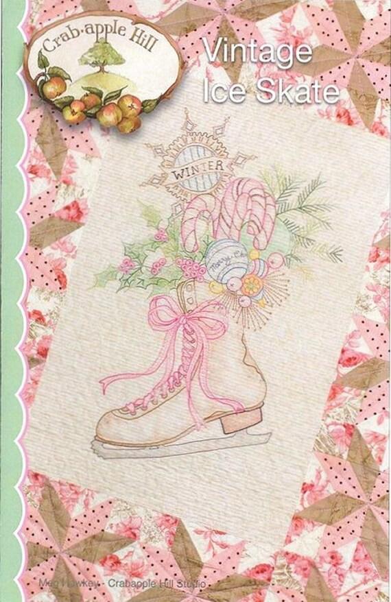 Crabapple Hill Studio Vintage Ice Skate 437 Hand Embroidery