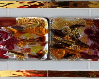 Stained Glass, Fused Glass, Abstract, Red, Gold, Amber