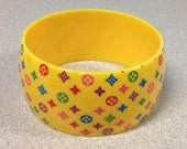 1980s DIAMONDS and FLOWERS Wide Fashion Bracelet in YELLOW