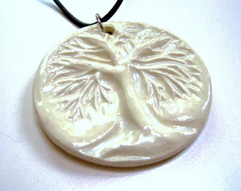 Winter white pendant,clay tree pendant,ceramic tag,pottery art pendant,tree of life pendant,roots branches wood,pottery tag,white clay tag,