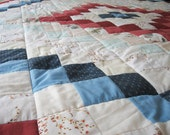Quilt 58 x 78 in White Red Blue Flower