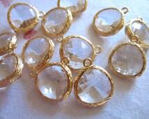 10 pcs, 10% Less, Clear Glass Pendants Charms Bezel Earring Drops, 16x13 mm, Gold Plated Brass Frame Gem, wedding jewelry craft supply GP1.C