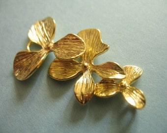 Shop Sale ..10 pcs, ORCHID Flower Connector Links Pendants Charms, Trio, 34x18 mm, Gold Brass.. floral nature organic. tg..hp