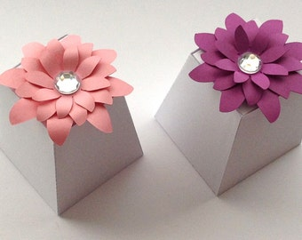 Truffle Favor  box with beautiful decorative flower set of 10
