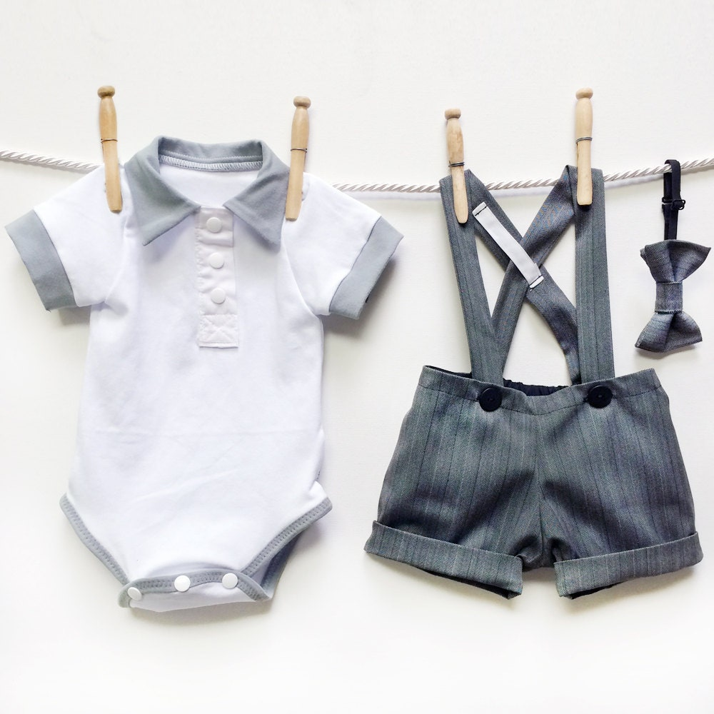 Grey Pinstripe Page Boy Outfit Baby Boy Wedding Outfit