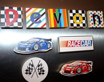 Race Car Racing Boys Name Magnets Fridge Bedroom Magnets