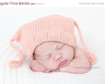 Sale - Baby Hat Pattern Knitting -- Little Boy Blue Box Hat with I-cord tassles -- Digital Download PDF