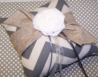 Ring Pillow - Charcoal Gray and Ivory Chevron, Rustic Burlap Ribbon, Ivory Lace Rosette