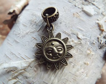 Antiques Brass Sun Charm ADD to your DREADS Dreadlock Accessory Extension Accessories Dread Boho Bohemian Hippie Bead