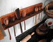 Eco Wall Mount Spoon Rack Relclaimed Cherry and Black Walnut
