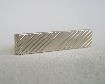 Vintage Palest Gold Men's Tie Clip  Mid Century Diagonal Stripes