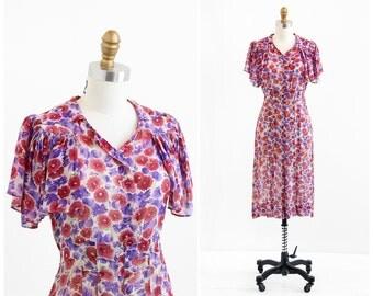 vintage 1930s dress / 1920s dress / Burgundy and Purple Sheer Chiffon Dress
