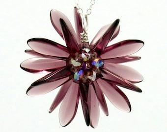 Amethyst Flower Pendant Necklace, Amethyst Illusion