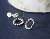 Sterling Dotted Circle Post Earrings- Free Shipping