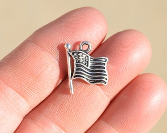 10  Silver American Flag Charms SC1060