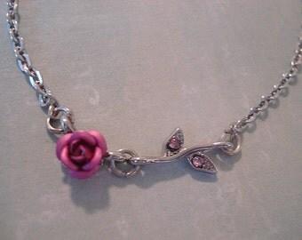 Rose Necklace Silver Leaf Necklace Pink Rose Necklace Rose Stem Necklace Tiny Flower Necklace Tiny leaf Pendant Leaf Jewelry