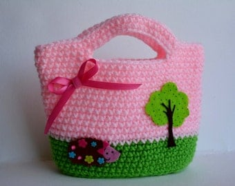 Happy Hedgehog Purse in Pink and Green