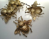 4 extra large brass bumblebee charms