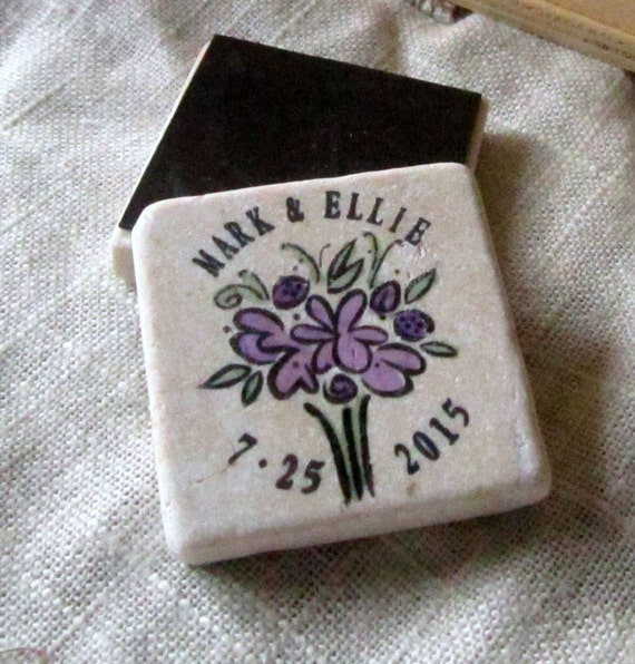 Purple Whimsical Floral Save the Date Magnets, Wedding Favors, Set of 25