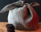 Large linen bindle bento bag