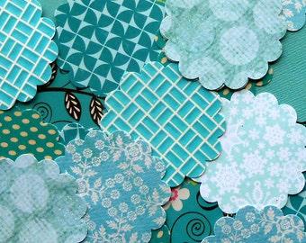DESTASH - 25 Assorted Teal / Aqua 2 inch Scallop Circle Embellishments