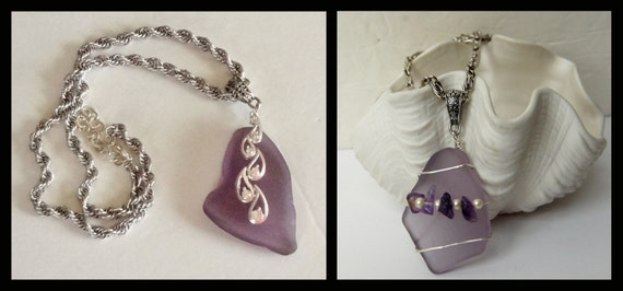 Reserved for millerazzie--Two Deep Amethyst Pendants, Purple Sea Glass Pendants