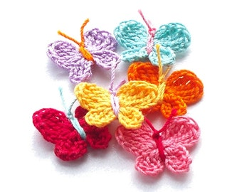 Crochet Butterfly Appliques, Embellishments Set of 6
