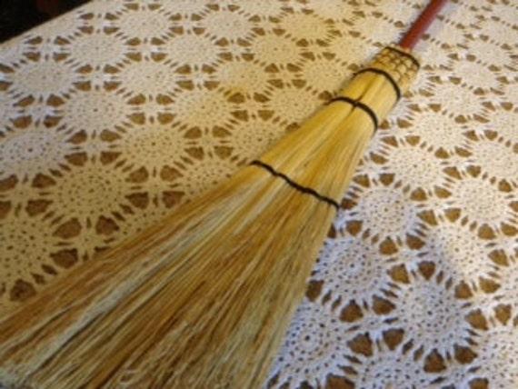 Red wooden handle fireplace Broom-corn broom-handmade broom-besom-broom-going green