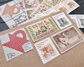 Country Home .. UNused Vintage Postage Stamps  .. post 5 letters