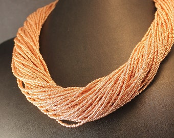 Lavish and Large Gold Seed Bead Collar Necklace with Copper Caps and Large Lobster Clasp