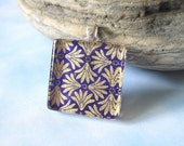 70% OFF Royalty Square Pendant. Japanese Chiyogami Necklace. Asian Paper and Handmade Glass Tile.