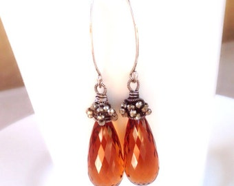 Natural golden citrine w/ Pyrite earrings in Oxidize fine silver