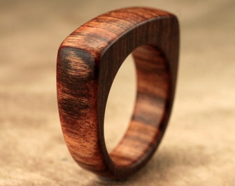 Size 8.25 - Flat Top Tamboti Wood Ring No. 137