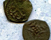 2 UNCLEANED coins from a dig,antique objects, something  curious, antique metal coin, coolvintage, collectibles, patina, old, age, 25K