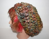 SALE sale OOAK Handspun, Crochet Freeform Hat, Beanie, Slouchy Cap