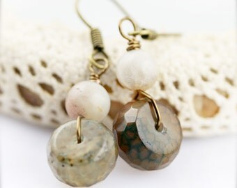 Olive rondelle earrings - amazonite and chalcedony