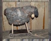 Felted wool pull toy sheep spring lamb metal wheels HAFAIR OFG