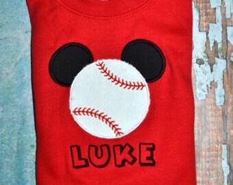 Mickey Mouse Baseball Shirt, Boys Mickey Mouse Shirt, Baseball Mickey Mouse