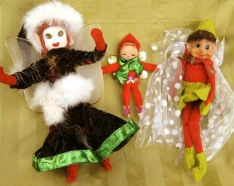 Elf Ornaments Up-cycled Christmas Vintage Christmas